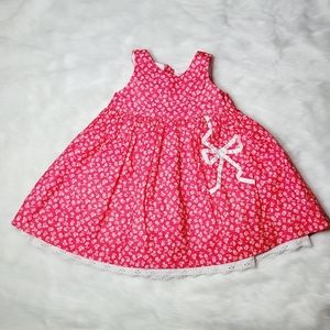Lullaby Club Floral Pink Dress with Lace Trim 9M